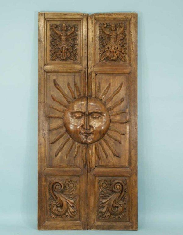 Carved Door Panels : Antique mexican oak carved door panels lot