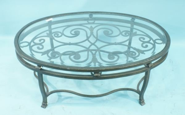 60a Wrought Iron Glass Top Coffee Table Lot 60a