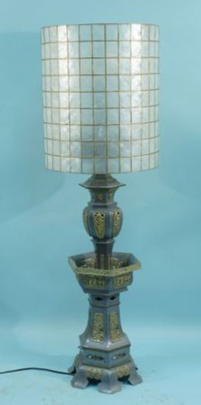 CHINESE PEWTER FLOOR LAMP