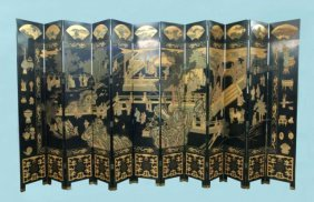AN IMPORTANT CHINESE LACQUER COROMANDEL SCREEN