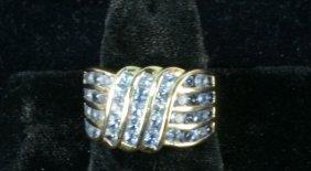 LADIES 14KT YELLOW GOLD TANZANITE RING