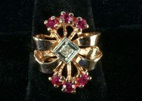 14KT PINK GOLD RUBY & DIAMOND RING, CIRCA 1930's