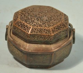 ANTIQUE CHINESE COPPER CRICKET BOX.