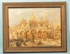 ST. MARKS SQUARE, VENICE BY DANTE OIL ON CANVAS