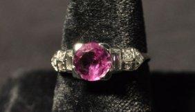 CIRCA 1920 10% IRID PLATINUM RUBY & DIAMOND RING