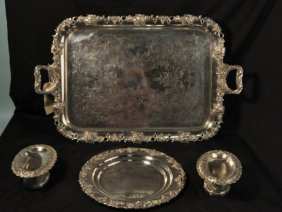FOUR SILVERPLATED SERVING PIECES