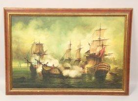 Oil On Canvas Vintage Battleship Scene Painting