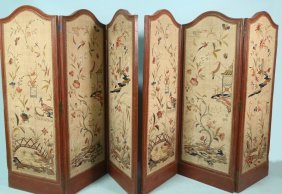 Pair Of Antique Silk Embroidered Folding Screens