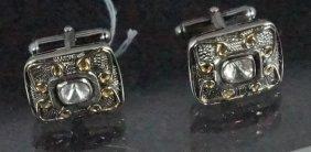 Pair 18kt Yellow Gold & Silver Diamond Cufflinks