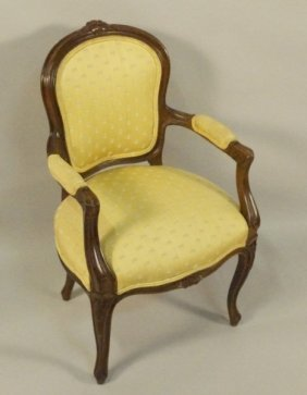 Antique Country French Child's Armchair In Damask