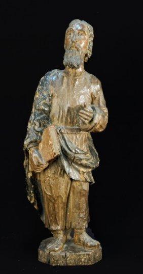 17th C. Spanish Carved Saint John Sculpture