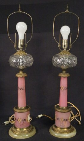Pair Of French Empire Oil Lamps Now Electrifed