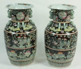Pair Of Famille Noire Chinese Porcelain Vases