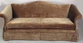 Custom Made Camelback Taupe Linen Velvet Sofa
