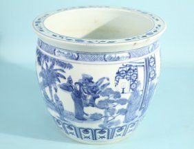 19th C. Blue And White Chinese Porcelain Cachpot