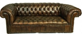 Vintage Chesterfield Button-tufted Leather Sofa