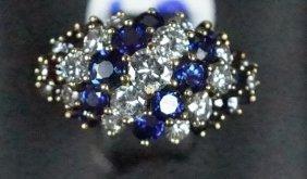 18kt Yellow Gold Diamond & Natural Sapphire Ring
