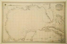 Framed Spanish Chart Of The Gulf Coast, 1836