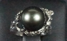 Tahitian Pearl & Diamond Sterling Silver Ring