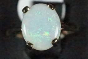 """New Stamped """"14kt"""" Yellow Gold Opal Ring"""