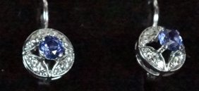 """750"" 18kt Diamond & Natural Sapphire Earrings"