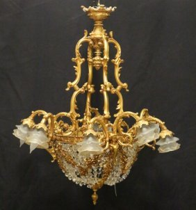 Vintage Italian Crystal Lined Basket Chandelier