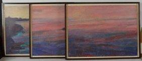"Charles Field ""monterrey Bay"" Triptych Oil On Paper,"