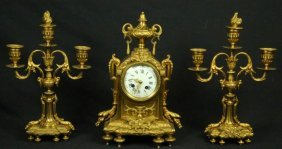 19th Century Gilt Mantel Clock & Candlesticks