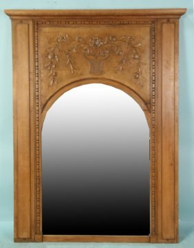 Antique French Provincial Walnut Overmantel Mirror