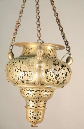 17th Century Spanish Church Brass Chandelier