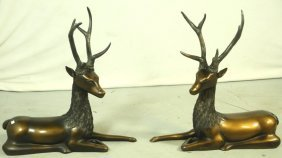 Pair Of Cast Resin Bronze Patinaed Stags