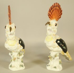 Pair Of Mottahedeh Porcelain Birds