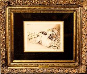 "Louis Icart ""peonies"" Original Drypoint Etching"
