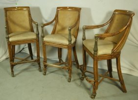 Lot Of Three Leather, Rattan, Bamboo Barstools