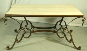 White Marble Top Table With Iron Base