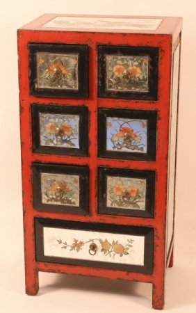 Vintage Reverse Painted Mirror Chinese Chest