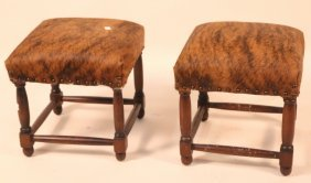 Pair Of Wood Turned Cowhide Upholstered Stools