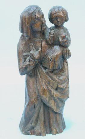 16th Century Oak Carved Madonna And Child