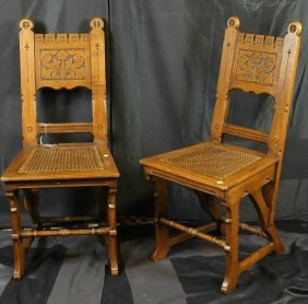 Pair Of Circa 1900 English Oak Carved Chairs