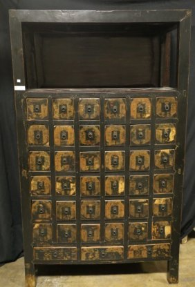 Vintage Black Lacquered Chinese Herbal Cabinet