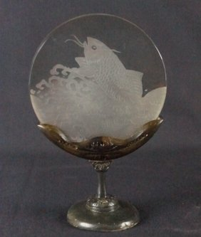 Etched Glass Fish On Stand