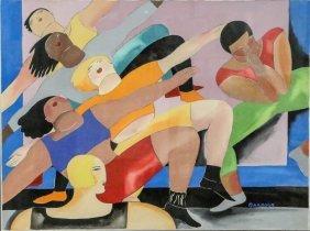 "Karen Barbour ""untitled"" Gouache On Paper, 1980's"