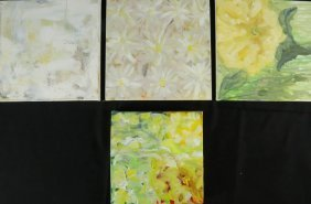 Lot Of Four Abstract Painting On Canvas