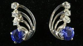 14kt Gold Pair Of Diamond & Tanzanite Earrings