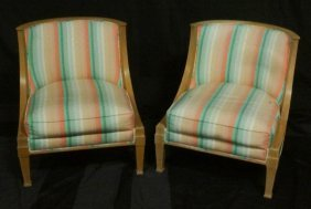 Pair Of Carved & Pickled Oak Slipper Chairs