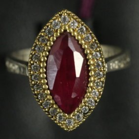 Estate Pear Shaped Ruby & White Sapphire Ring