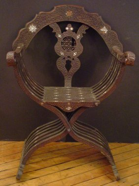 MOROCCAN CHAIR W/MOTHER OF PEARL INLAY 2978