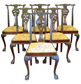 ANTIQUE SET SIX CENTENIAL CHIPPENDALE CHAIRS 15624