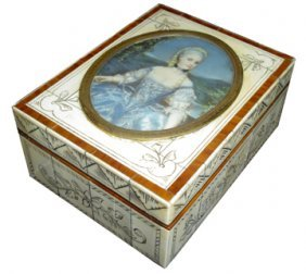 IVORY AND ROSEWOOD BOX W/PAINTED LADY 15789