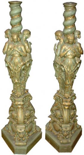 PR CVD WOOD POLYCHROME 3 GRACES CANDLESTICKS 14449